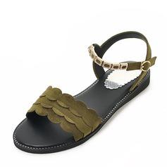 Donna Camoscio Senza tacco Sandalo Ballerine con Fibbia scarpe