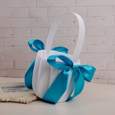 Classic Flower Basket in Cloth With Ribbons