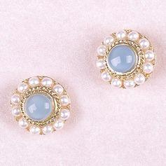 øreringe geometrisk unik Pearl Sterling Silver Crystal forgyldt Pearl Crystal Rund øreringe