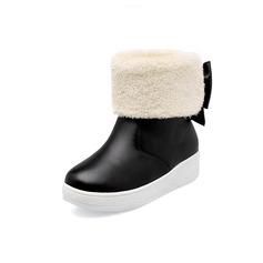 Couro Sem salto Plataforma Bota no tornozelo com Bowknot Pele sapatos