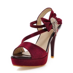 Naisten Keinonahasta Piikkikorko Sandaalit Avokkaat Platform Peep toe Kantiohihnakengät jossa Bowknot Tupsu kengät