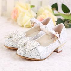 Flicka Stängt Toe konstläder låg klack Pumps Flower Girl Shoes med Beading Spänne Glittrande Glitter
