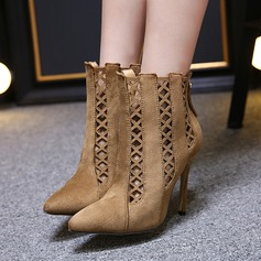 Women's Suede Stiletto Heel Closed Toe Boots Ankle Boots With Hollow-out shoes