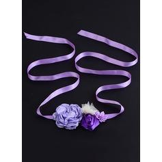 Beau/Fleuriste Satiné Ceintures avec Une fleur