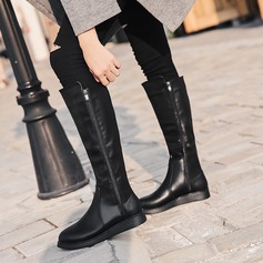 Frauen PU Flascher Absatz Flache Schuhe Kniehocher Stiefel mit Reißverschluss Schuhe