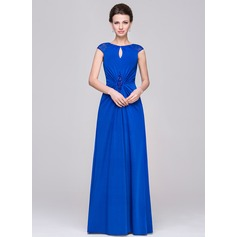 A-Line/Princess Scoop Neck Floor-Length Jersey Mother of the Bride Dress With Ruffle Lace Beading