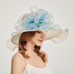 Damene ' Hotteste/Romantisk Organza med Silke blomst Strand / Sol Hatter/Tea Party Hats
