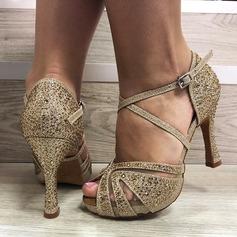 De mujer Cuero Tacones Danza latina con Rhinestone Zapatos de danza