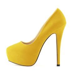 Femmes Suède Similicuir Talon stiletto Escarpins Plateforme Bout fermé chaussures