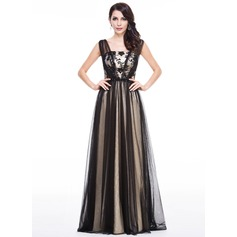 A-Line/Princess Floor-Length Tulle Evening Dress With Lace Beading Sequins