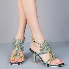 Женщины кожа Высокий тонкий каблук Открытый мыс На каблуках Сандалии Босоножки с пряжка горный хрусталь