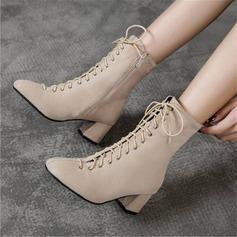 Femmes Suède Talon bottier Bottes mi-mollets avec Dentelle chaussures