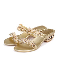 Kvinner Egte Lær Lav Hæl Sandaler Mary Jane Beach Wedding Shoes med Rhinestone