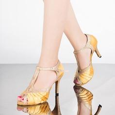 Mulheres Cetim Espumante Glitter Saltos Sandálias Latino com Correia -T Sapatos de dança