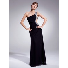 Sheath/Column One-Shoulder Sweep Train Chiffon Prom Dress With Ruffle Beading