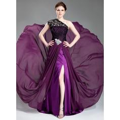 Forme Princesse Seule-épaule Traîne moyenne Mousseline de soie Dentelle Robe de soirée avec Brodé Fendue devant