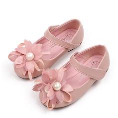 Fille de Bout fermé similicuir talon plat Chaussures plates Chaussures de fille de fleur avec Une fleur