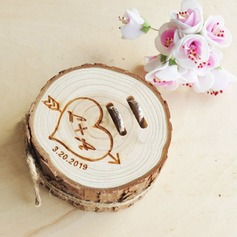 Elegant/Classic/Personalized Wood Ring Holder With Rustic Twine
