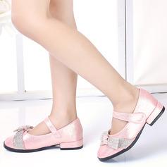 Fille de bout rond Bout fermé similicuir Chaussures plates avec Bowknot Velcro