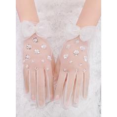 Kant Wrist Lengte Bruids Handschoenen met Boog/pailletten