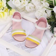 Flicka Peep Toe Real Leather Sandaler Platta Skor / Fritidsskor Sneakers & Athletic Flower Girl Shoes med Kardborre