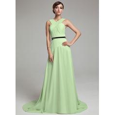 Vestidos princesa/ Formato A Decote V Sweep/Brush trem Tecido de seda Vestido de Férias com Pregueado Cintos