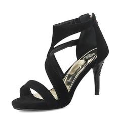 Frauen Veloursleder Stöckel Absatz Sandalen Absatzschuhe Peep Toe mit Reißverschluss Schuhe