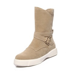 Women's Suede Low Heel Closed Toe Boots Mid-Calf Boots Snow Boots With Buckle shoes
