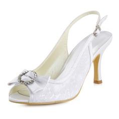 Mulheres Renda como o cetim de seda Salto agulha Peep toe Sandálias Sapatos abertos com Da curva Fivela Strass