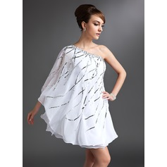 Sheath/Column One-Shoulder Short/Mini Chiffon Cocktail Dress With Beading Sequins (016021153)