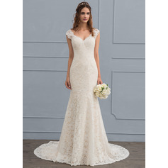 Trumpet/Mermaid V-neck Court Train Lace Wedding Dress (002118442)