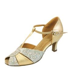Женщины кожа Мерцающая отделка Латино Обувь для танцев