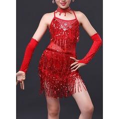 Crianças Roupa de Dança Poliéster Dança Latina Vestidos