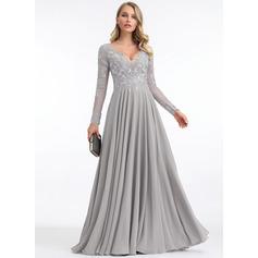Çan/ V yaka Uzun Etekli Şifon Gece Elbisesi