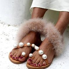 Женщины PU Плоский каблук Сандалии На плокой подошве Открытый мыс с Имитация Перл обувь