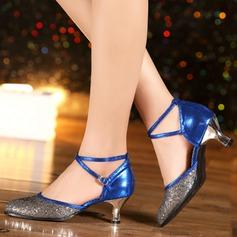 Femmes Similicuir Pailletes scintillantes Talons Salle de bal Chaussures de danse