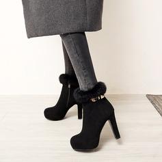 Mulheres Camurça Salto agulha Bombas Plataforma com Pele sapatos