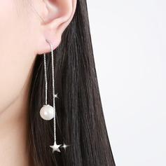 Chic Legering Fauxen Pärla med Oäkta Pearl Kvinnor Mode örhängen (Set av 2)