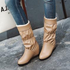 Femmes Similicuir Talon bas Bottes mi-mollets Bottes neige avec Plissé chaussures