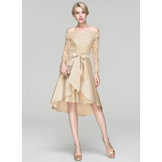 A-Linie/Princess-Linie Off-the-Schulter Asymmetrisch Satin Cocktailkleid mit Pailletten Schleife(n) (016094375)