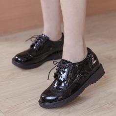Женщины кожа Плоский каблук На плокой подошве Закрытый мыс с Шнуровка обувь