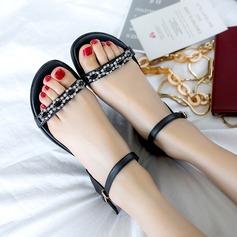 Frauen Echtleder Flascher Absatz Sandalen Flache Schuhe Peep Toe Slingpumps mit Strass Schnalle Schuhe
