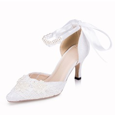 Vrouwen Kunstleer Stiletto Heel Pumps met Imitatie Parel Ribbon Tie Stitching Lace
