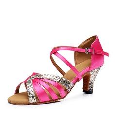 De mujer Satén Tacones Sandalias Danza latina con Lentejuelas Zapatos de danza