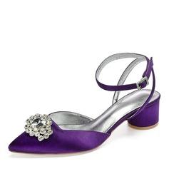 Mulheres como o cetim de seda Salto robusto Fechados Sandálias Sapatos abertos com Strass