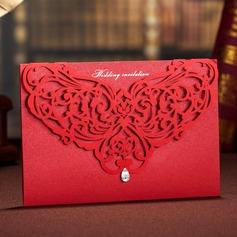 Blommig Stil Wrap & Pocket Invitation Cards (Sats om 50)