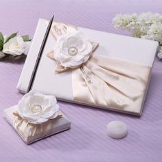 Elegant Imiteret Pearl/Blomst Gæstebog & pensæt