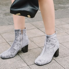 Women's Suede Chunky Heel Pumps Boots Mid-Calf Boots With Zipper shoes