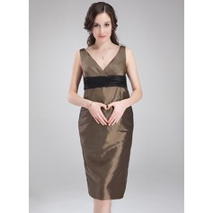 Empire V-neck Knee-Length Taffeta Maternity Bridesmaid Dress With Ruffle Sash