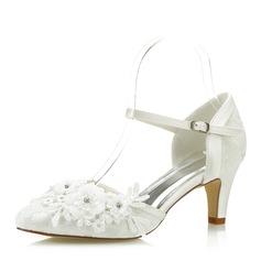 Women's Fabric Mesh Stiletto Heel Closed Toe With Flower